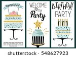 happy birthday party cards set... | Shutterstock .eps vector #548627923