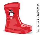 realistic red rubber boots for... | Shutterstock .eps vector #548630560