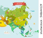 map of asia. travel and tourism ... | Shutterstock .eps vector #548644129