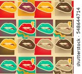 Pop art lips copies seamless pattern Retro style art print | Shutterstock vector #548644714