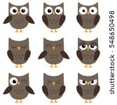 set of cute cartoon owls with... | Shutterstock . vector #548650498