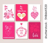 set of valentines day postcards.... | Shutterstock .eps vector #548664520