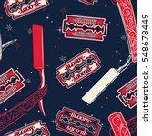 razor blade seamless pattern.... | Shutterstock .eps vector #548678449