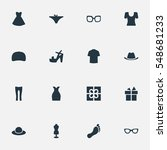 set of 16 simple clothes icons. ...