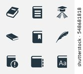 set of 9 simple reading icons.... | Shutterstock . vector #548681818