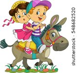 Stock vector  cartoon vector illustration funny kids are riding on a donkey 548682520