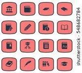 set of 16 simple books icons.... | Shutterstock . vector #548682784