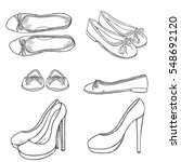 vector set of sketch women high ... | Shutterstock .eps vector #548692120