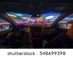 night road view from inside car ... | Shutterstock . vector #548699398
