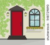 front door view with vine on... | Shutterstock .eps vector #548729890