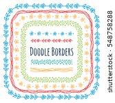 set of doodle borders ... | Shutterstock .eps vector #548758288