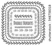 set of doodle borders ... | Shutterstock .eps vector #548758318