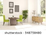 white dinner room with green... | Shutterstock . vector #548758480