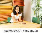 cute indonesian young woman... | Shutterstock . vector #548758960