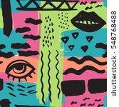 hand drawn seamless ink pattern ... | Shutterstock .eps vector #548768488