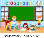 many students reading book in... | Shutterstock .eps vector #548777164
