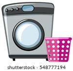 washing machine and pink basket ... | Shutterstock .eps vector #548777194