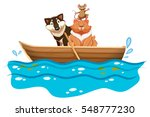 cat and dog in the rowboat...