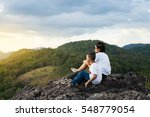 young woman and little boy... | Shutterstock . vector #548779054
