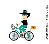 rider hipster man with bike     Shutterstock .eps vector #548779468