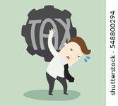 businessman carry heavy tax | Shutterstock .eps vector #548800294