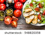 healthy food  plate with greek... | Shutterstock . vector #548820358
