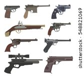 firearm set. guns  pistols ... | Shutterstock .eps vector #548821069