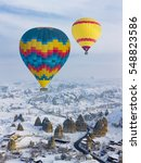 hot air balloons and cappadocia ... | Shutterstock . vector #548823586