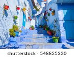 Small photo of Allay of Chefchaouen, Morocco, the striking, variously hued blue-washed old town