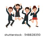 happy jumping business people... | Shutterstock .eps vector #548828350