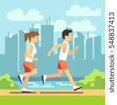 jogging sport people  athletic... | Shutterstock .eps vector #548837413