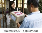 delivery courier freight... | Shutterstock . vector #548839000