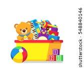 kids toys in box vector clipart. | Shutterstock .eps vector #548840146