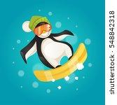 hilarious penguin snowboarding. ... | Shutterstock .eps vector #548842318