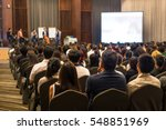 speakers on the stage with rear ... | Shutterstock . vector #548851969