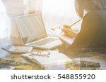 double exposure of business... | Shutterstock . vector #548855920