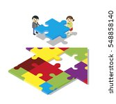 couple with house jigsaw... | Shutterstock .eps vector #548858140