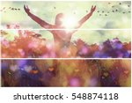 young girl spreading hands with ... | Shutterstock . vector #548874118