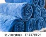 Pile Of Rolled Folded Blue...