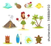 hawaii icons and girl vector... | Shutterstock .eps vector #548886910