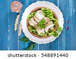 fresh hake on wooden background   Shutterstock . vector #548891440