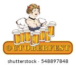 pretty blond waitress with beer.... | Shutterstock .eps vector #548897848