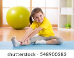 kid doing fitness exercises at... | Shutterstock . vector #548900383