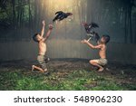 asian boys in countryside with... | Shutterstock . vector #548906230