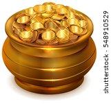 full ceramic pot with gold... | Shutterstock .eps vector #548910529
