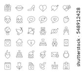valentine's day linear icons... | Shutterstock .eps vector #548912428
