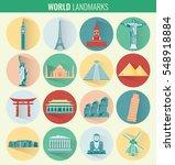 world landmarks flat icon set.... | Shutterstock .eps vector #548918884
