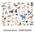 Stock vector big set of wild animals cartoon vectors african australian arctic asian south and north 548956204