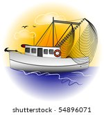 Shrimp Boat Graphic - stock photo