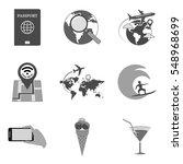set of travel icons and symbols ...
